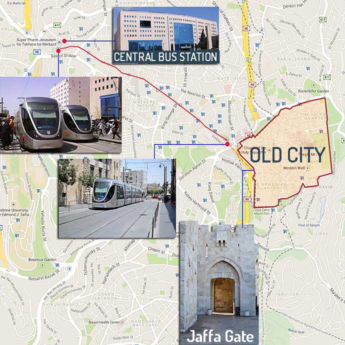 From Jerusalem central bus station to Old City Map
